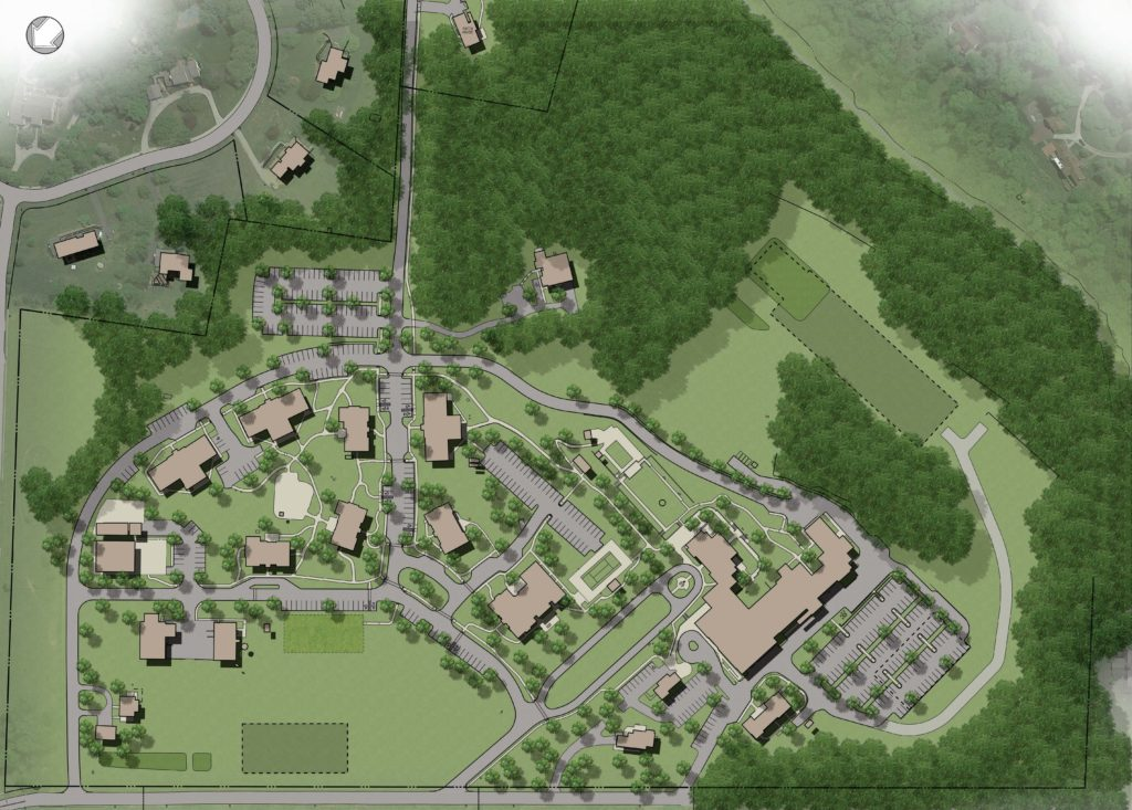 Campus master plan rendering prepared by Nave Newell