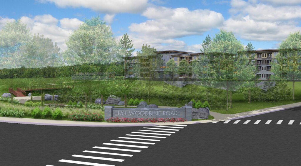 Rendering of Woodbine Apartment Entrance